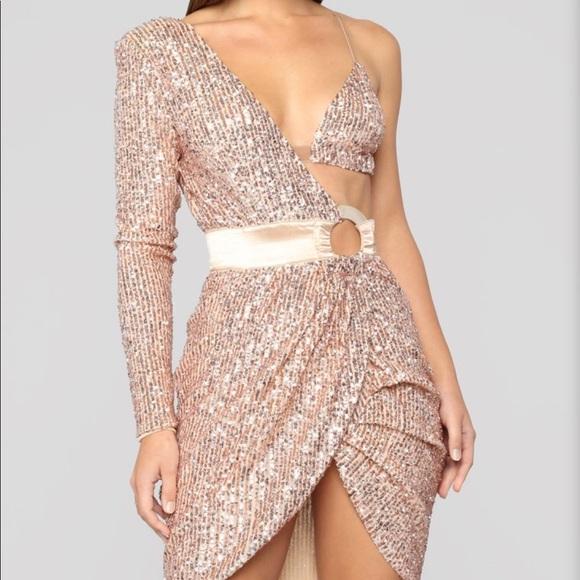 Fashion Nova Dresses Fashionnova Rose Gold Dress Small Poshmark